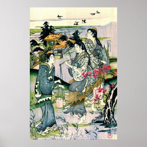 Plovers Over Tamagawa 1800 Print