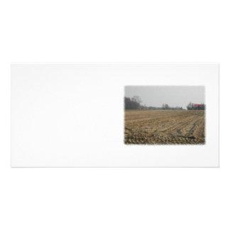 Plowed Field in Winter Scenic Custom Photo Card