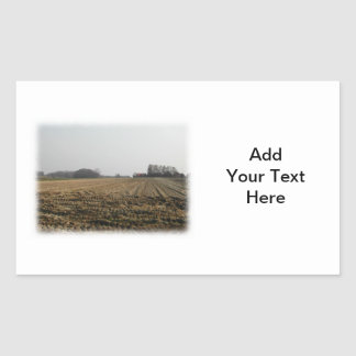 Plowed Field in Winter. Scenic. Rectangular Sticker
