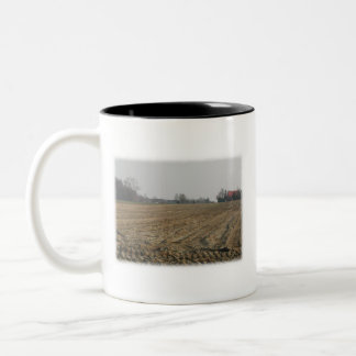 Plowed Field in Winter. Scenic. Two-Tone Coffee Mug