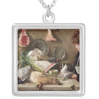 Plucking the Pigeon Silver Plated Necklace