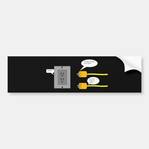 plug-ins plugs cartoon bumper sticker. bumper sticker