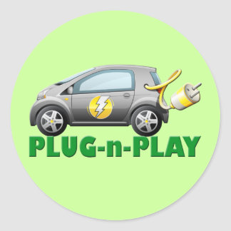 PLUG-N-PLAY ELECTRIC CAR CLASSIC ROUND STICKER