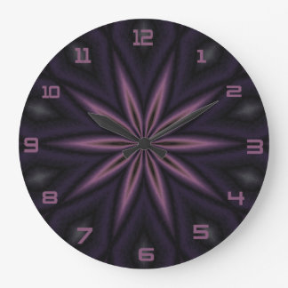 Plum And Black Design Clock