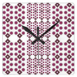 Plum and Brown Geometric Wall Clock
