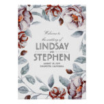Plum and Burgundy Flowers Watercolor Wedding Sign