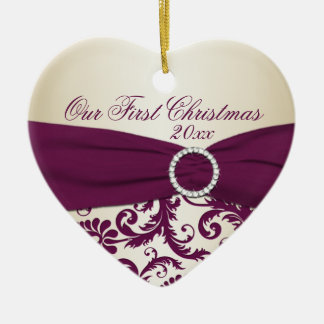 Plum and Champagne Damask First Christmas Ornament