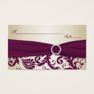 Plum and Champagne Damask Placecards Business Card