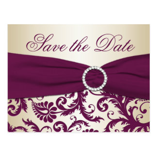Plum and Champagne Damask Save the Date Postcard