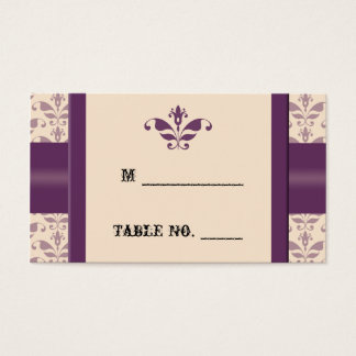 Plum and Champagne Damask Wedding Place Cards