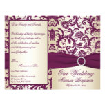 Plum and Champagne Damask Wedding Program Personalized Flyer