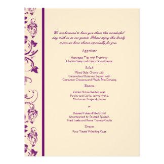 Plum and Champagne Floral Scroll Wedding Menu 21.5 Cm X 28 Cm Flyer