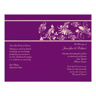 Plum and Champagne Floral Scroll Wedding Program 21.5 Cm X 28 Cm Flyer