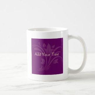 Plum and Cream Floral Scroll Classic White Coffee Mug