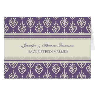 Plum and Cream Just Married Announcement Card