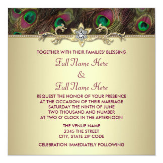 Plum and Emerald Green Gold Peacock Wedding 13 Cm X 13 Cm Square Invitation Card