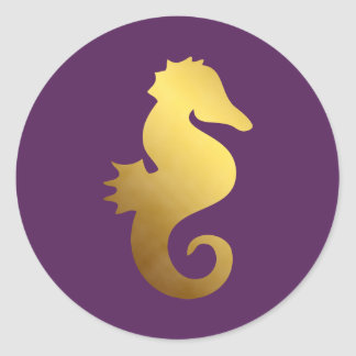 Plum and Faux Gold Foil Seahorse Round Sticker