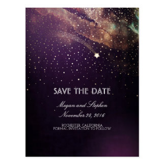 Plum and Gold Shooting Star Night Save The Date Postcard