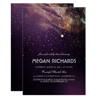 Plum and Gold Shooting Star Starry Baby Shower Card