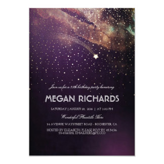Plum and Gold Shooting Star Starry Birthday Party Card
