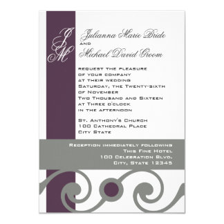 Plum and Grey Scroll Card