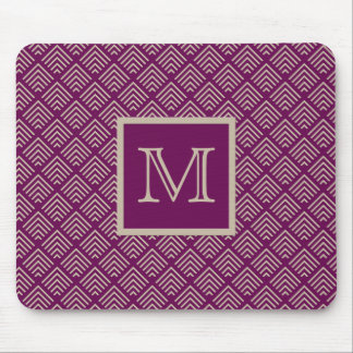 Plum and Natural Geometric Pattern Monogrammed Mouse Mat