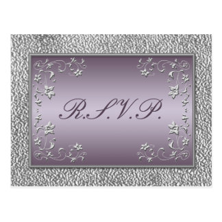 Plum and Pewter Floral RSVP Postcard
