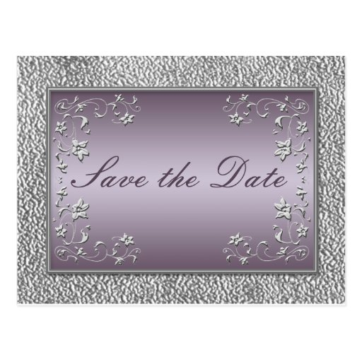 Plum and Pewter Floral Save the Date Postcard