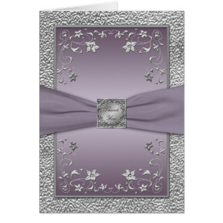 Plum and Pewter Floral Thank You Card