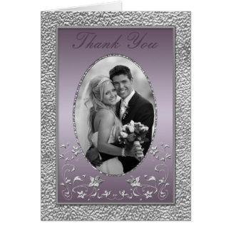 Plum and Pewter Floral Thank You Card with Photo