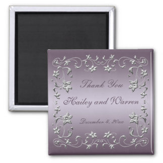 Plum and Pewter Floral Wedding Favor Magnet
