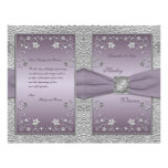 Plum and Pewter Floral Wedding Program
