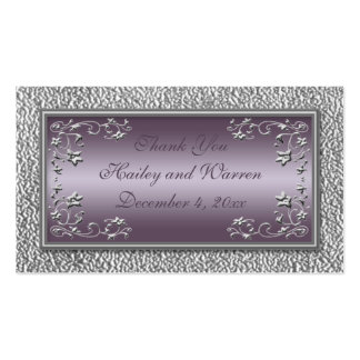 Plum and Pewter Wedding Favor Tags Business Card
