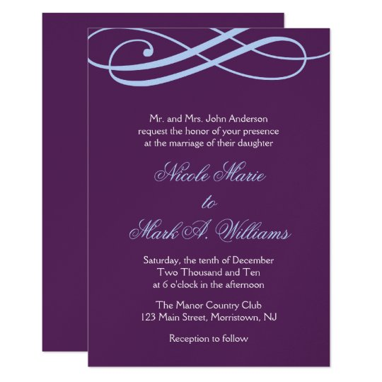 Plum and Powder Blue Swirls Wedding Invitations