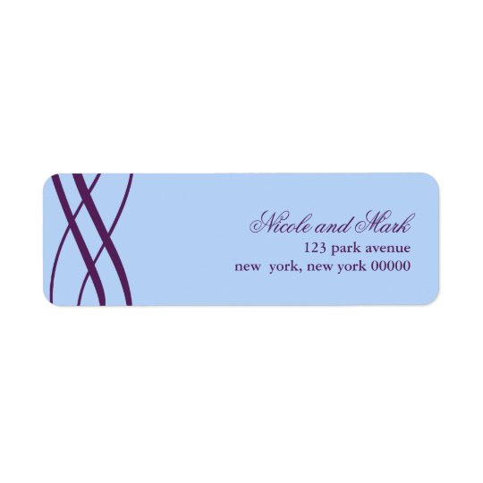 Plum and Powder Blue Wedding Address Return Labels
