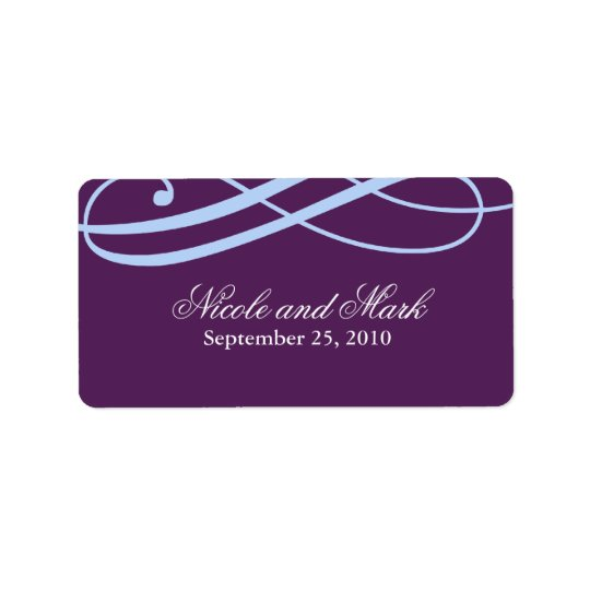 Plum and Powder Blue Wedding Favour Labels