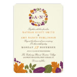 Plum and Pumpkin Fall Wreath Wedding Invitations