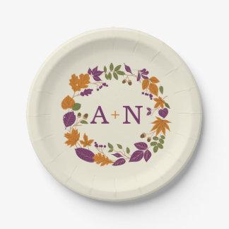 Plum and Pumpkin Fall Wreath Wedding Plates 7 Inch Paper Plate