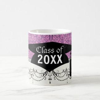 plum and purple intricate swirl damask graduation basic white mug
