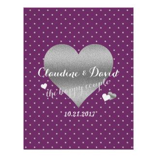 Plum And Silver Heart Polka Dot Wedding Flyer