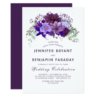 Plum and Violet Floral Purple Elegant Wedding Card