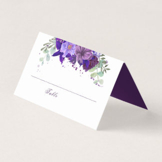 Plum and Violet Purple Floral Elegant Wedding Place Card