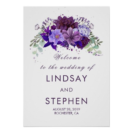 Plum and Violet Purple Floral Wedding Welcome Sign