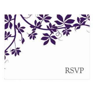 Plum And White RSVP Response Cards Postcard