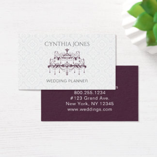 Plum Baroque Chandelier Business Card