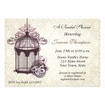 Plum Birdcage, Damask Invitation