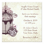 Plum Birdcage, Damask 5.25x5.25 Square Paper Invitation Card