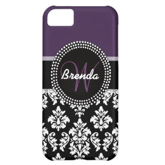 Plum Black White Damask Monogrammed iPhone 5C Case