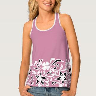 Plum, black & white floral pattern tank top