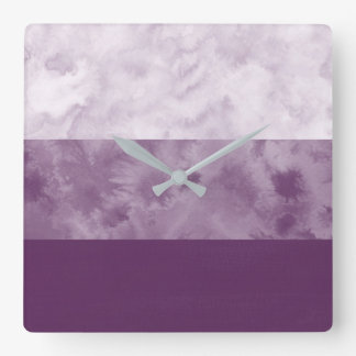 Plum Block Stripes Square Wall Clock